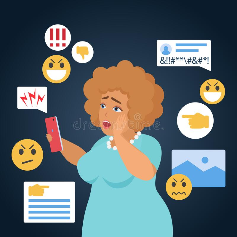 Free Cyber Bullying People Vector Illustration, Cartoon Flat Sad Bullied Fat Woman Character Has Cyber Bully Mockery Problem Stock Photo - 187907040