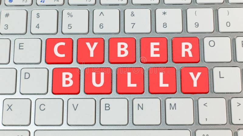 Cyber bullying red button on silver keyboard. The cyber bullying red button on silver keyboard royalty free stock photo