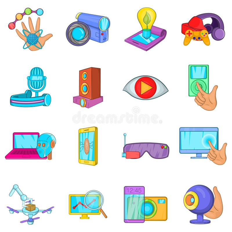 Cyber business icons set, cartoon style royalty free illustration