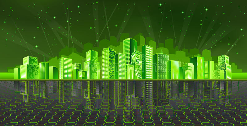 Cyber city vector illustration
