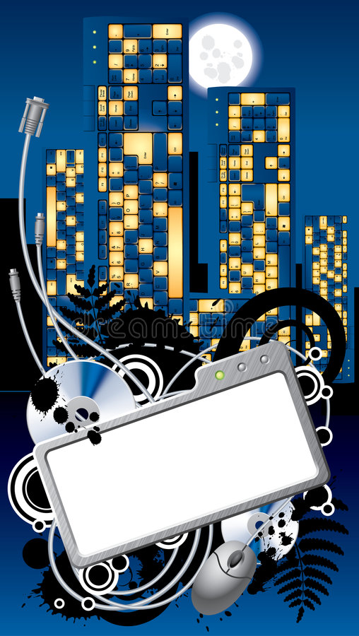 Free Cyber City Banner Royalty Free Stock Images - 5260009