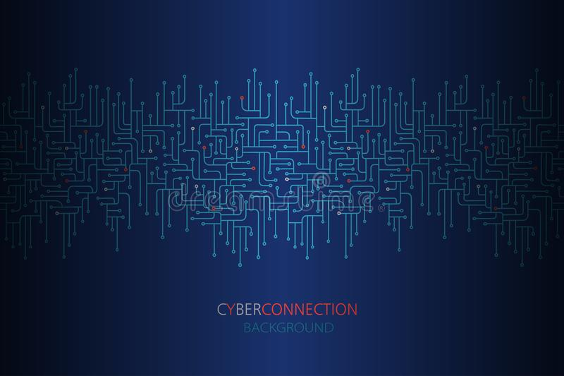 Cyber connection background with electronic circuit seamless border. Spu. Circuit lines design vector illustration royalty free illustration