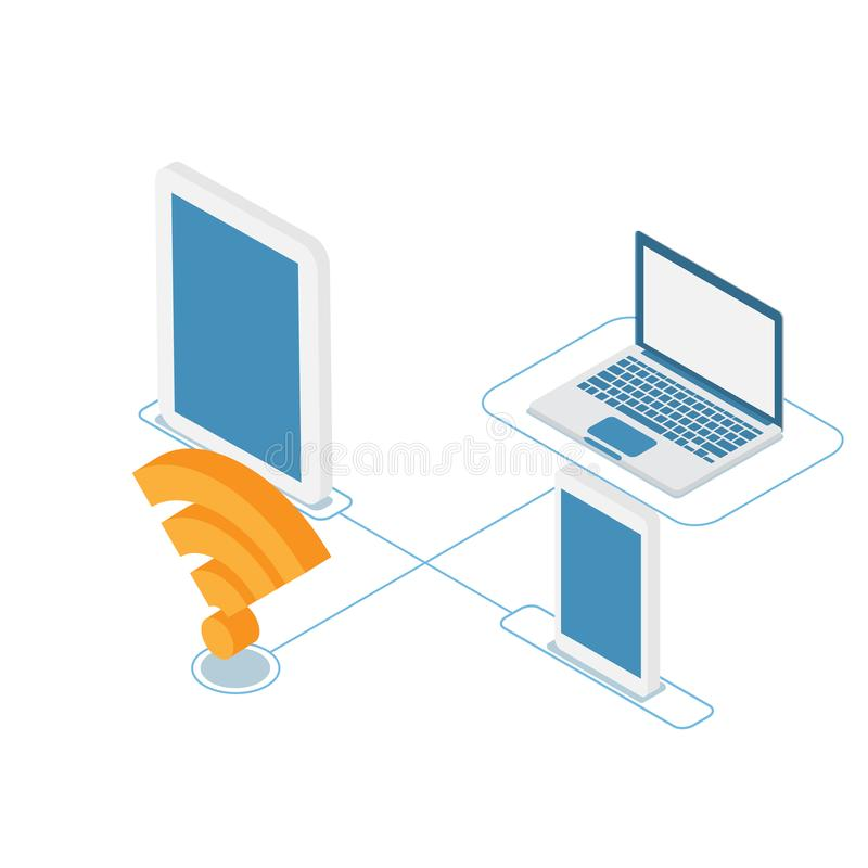 Cyber connection technology wifi with devices vector illustration
