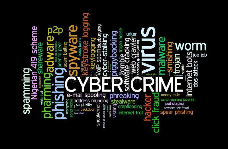 Cyber Crime. Cloud of words pertaining to crimes, nuances and breach of security in the cyber world