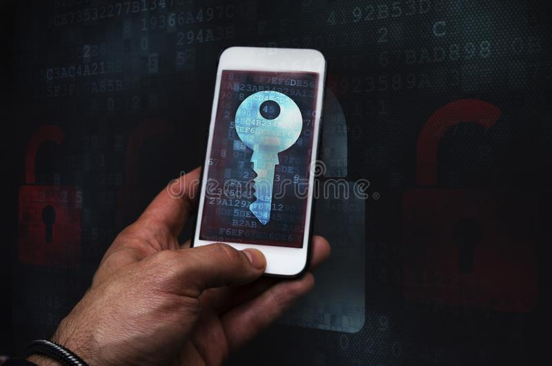 Cyber crime hacker using mobile phone. Mobile security breach royalty free stock image