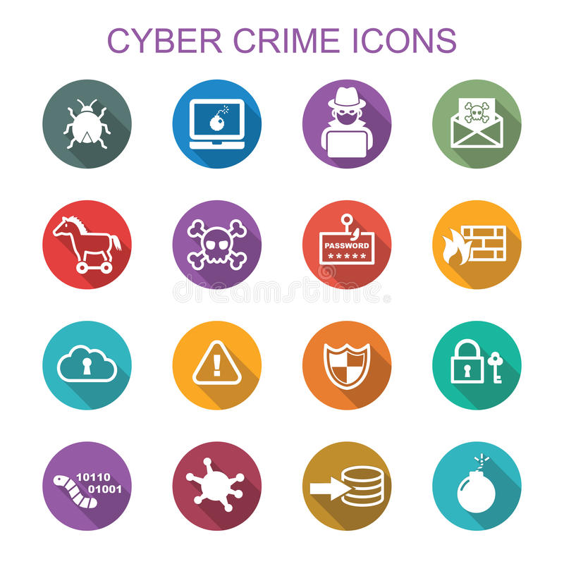 Cyber crime long shadow icons royalty free illustration