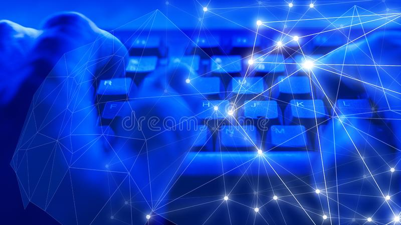 Cyber crime target, abstract cyber attack, digital big data security. Cybersecurity in office, cyber crime computer espionage concept, random dots lines stock photo