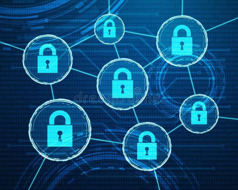 Cyber dane ochrony projekt royalty ilustracja
