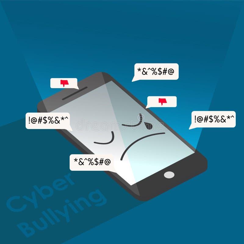 cyber de droevige achtergrond van de intimidatietelefoon grafische vectorillustraties royalty-vrije illustratie