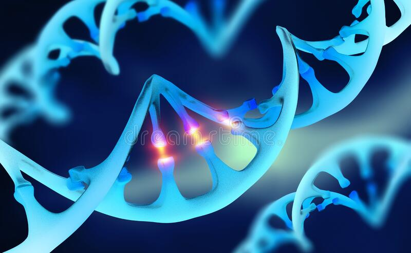 Cyber DNA, study of genetic chains. 3d illustration of future technologies vector illustration