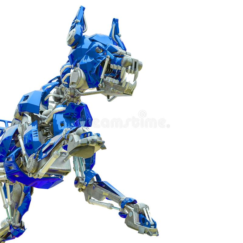 Cyber dog chasing. 3d animation royalty free illustration