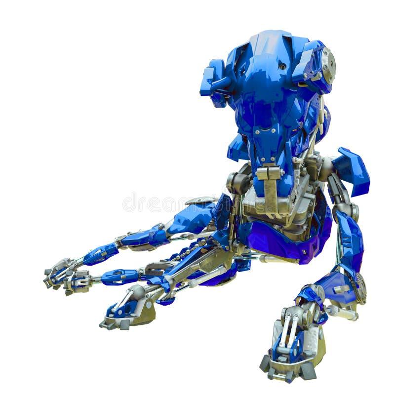 Cyber dog resting. 3d animation vector illustration
