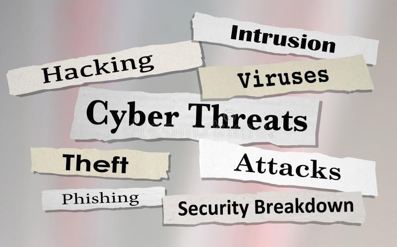 Cyber-Drohungen nimmt das Zerhacken von Zeitungs-Schlagzeilen 3d Illustratio in Angriff lizenzfreie abbildung