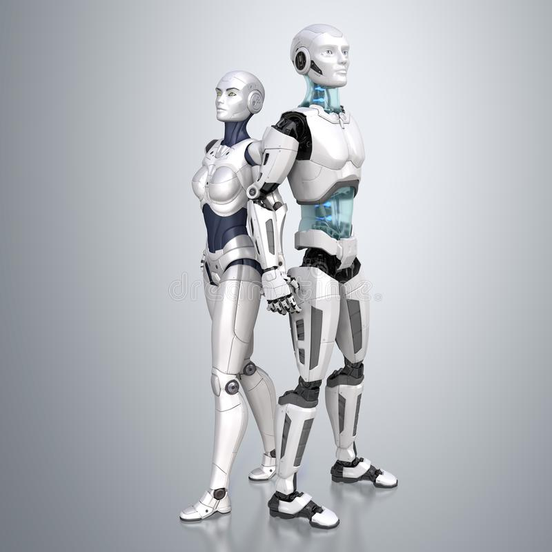 Cyber duet. Two robots vector illustration