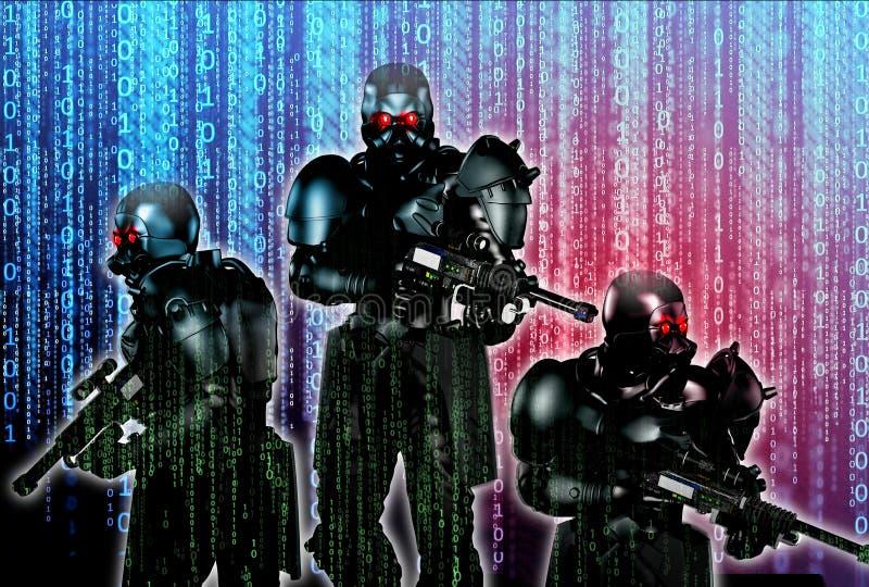 Cyber działania wojenne royalty ilustracja
