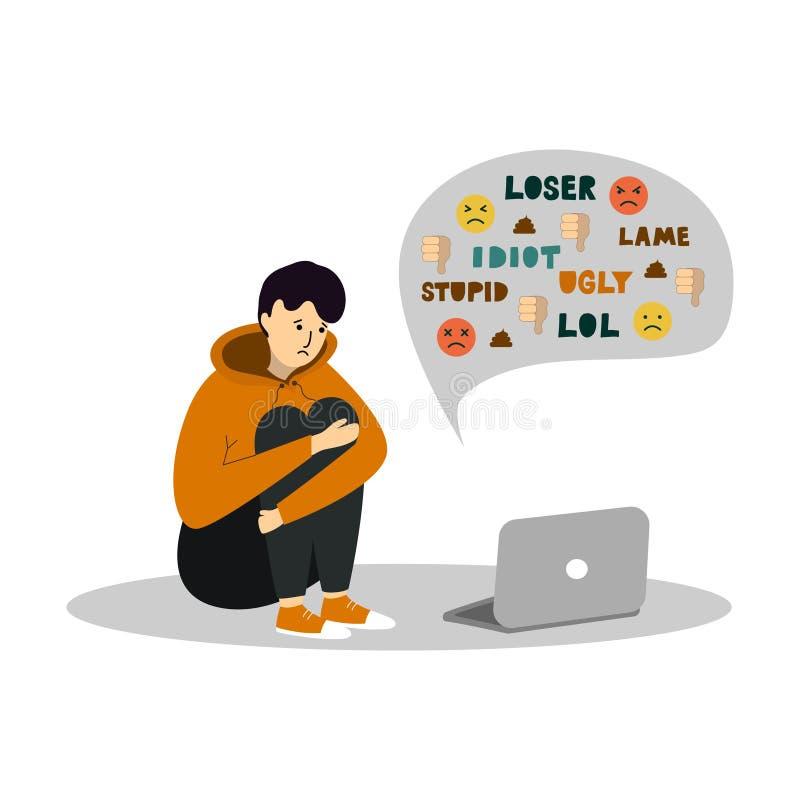Cyber-Einschüchterung Junger Teenager, der vor dem Laptop auf weißem Hintergrund sitzt stockbild