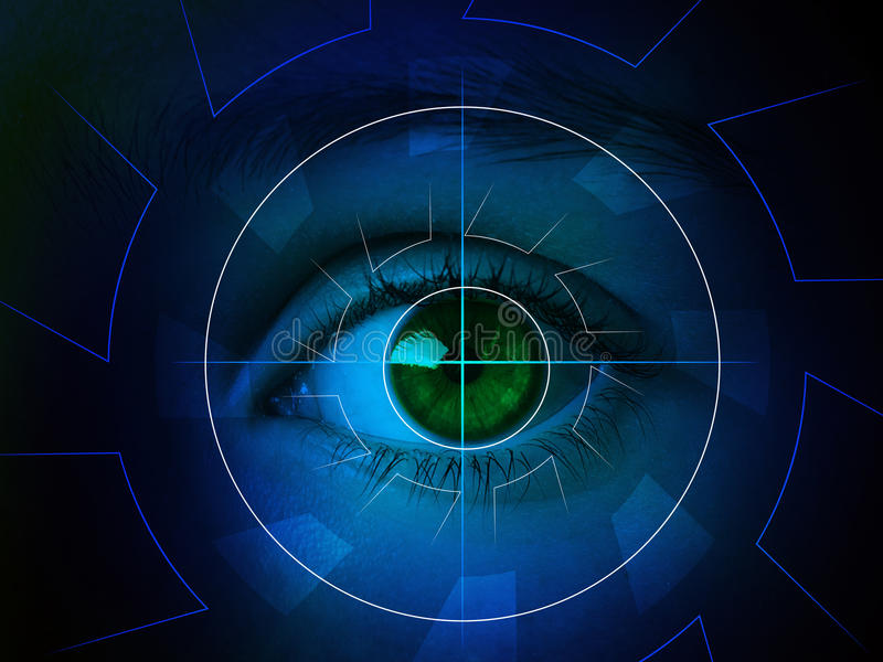 Cyber eye with len. Hitech digital eye that controls and monitors the safety, privacy royalty free illustration