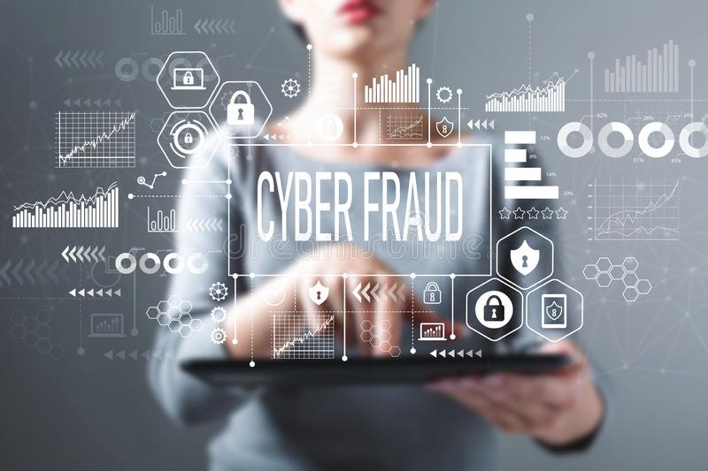 Cyber fraud with woman using a tablet royalty free stock photography
