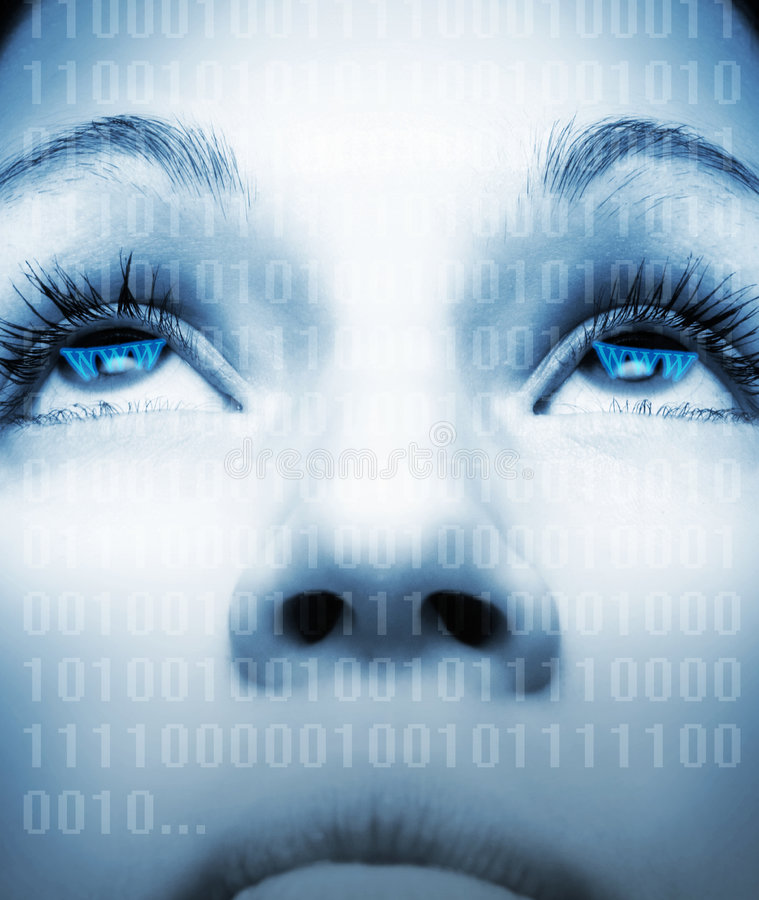 Cyber Girl S Face Royalty Free Stock Photography