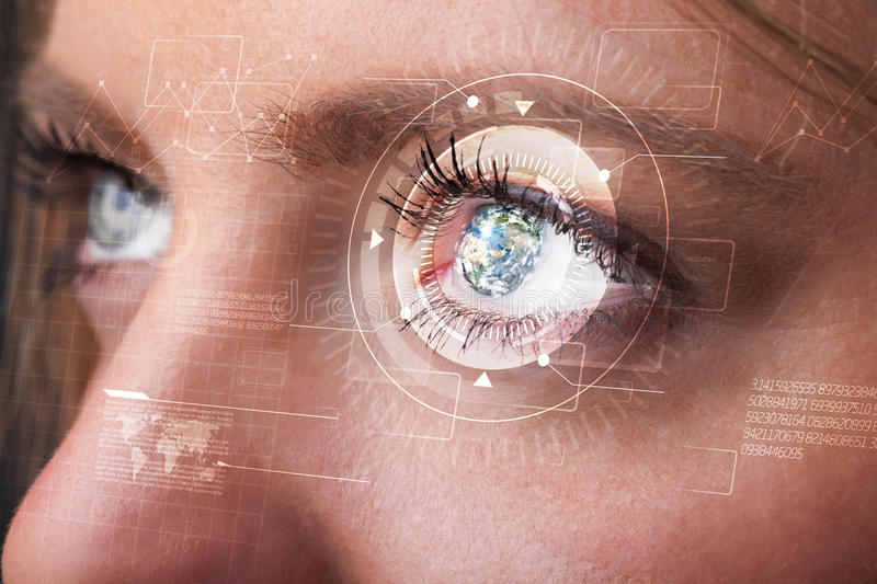 Cyber girl with technolgy eye looking royalty free stock images