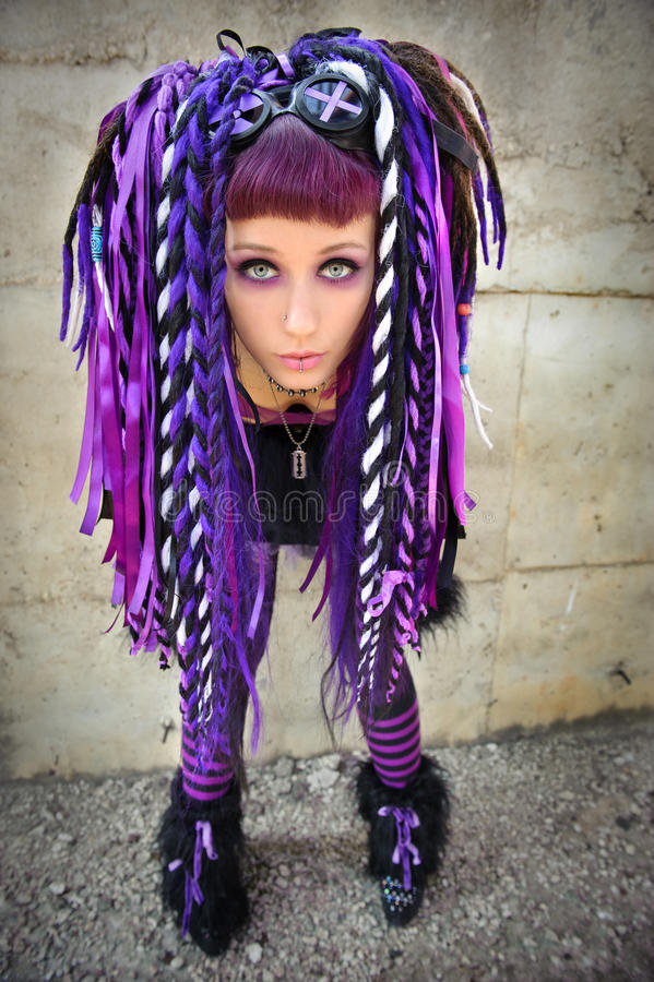 Cyber gothic girl. In the industrial environment royalty free stock image