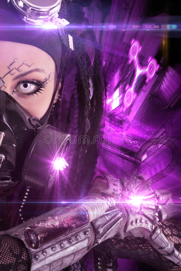 Cyber-Gothic girl stock photography