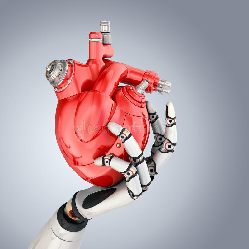 Cyber Heart. Mechanical heart in robots hand. Clipping path included royalty free illustration