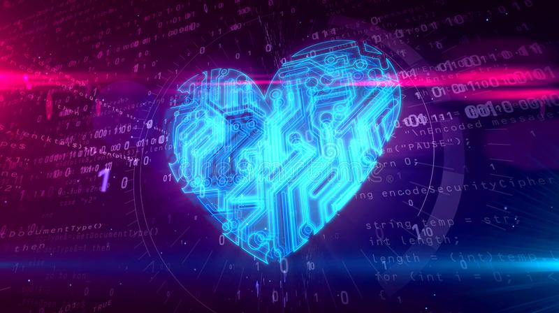 Digital heart symbol. Cyber heart symbol in cyberspace. Abstract 3D illustration of love symbol on digital background vector illustration