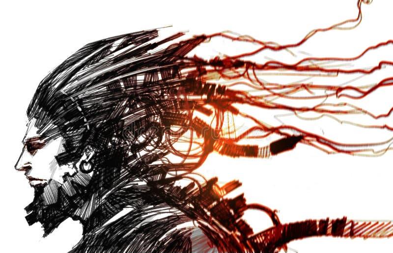 Cyber human royalty free illustration