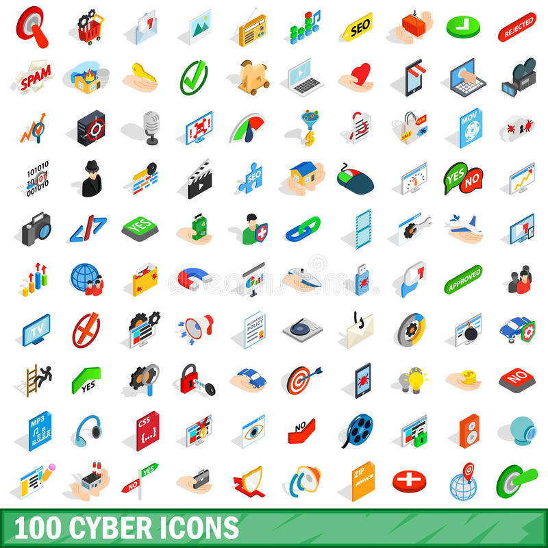 100 cyber icons set, isometric 3d style royalty free illustration