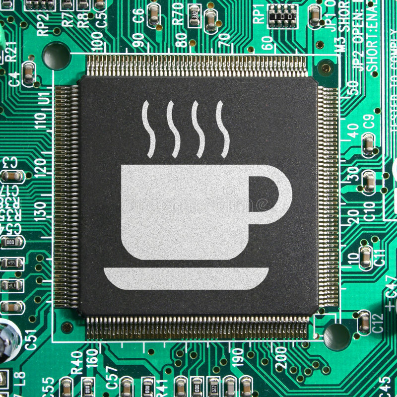 Cyber Internet cafe. Concept with a coffee cup icon imprinted on a computer chip royalty free stock photography