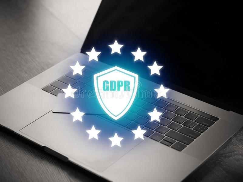 Cyber internet security concept. GDPR and cybersecurity. Protection of private personal data. A person using internet on laptop on stock images
