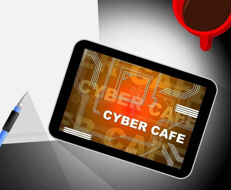 Cyber kawiarni Bezpłatnego Internetowego punktu zapalnego 2d ilustracja ilustracji