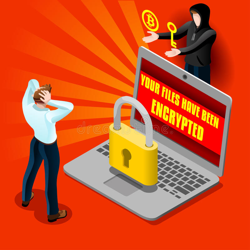 Cyber komputeru ataka emaila Malware Isometric Szczegółowy wektor ilustracja wektor