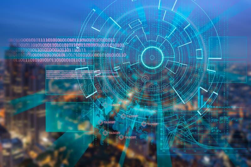 Cyber laserowy cel na nocy mieście zamazywał tło ilustracja wektor