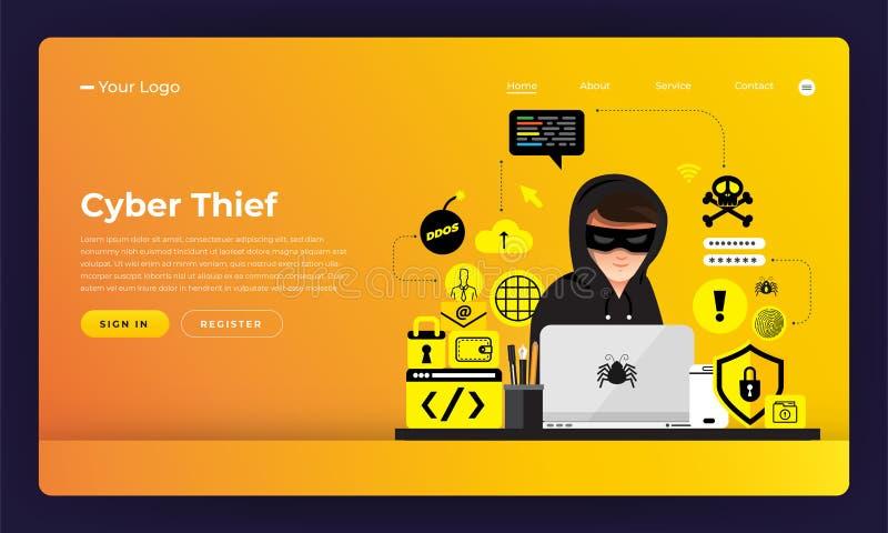 Cyber liso da atividade do hacker do conceito de projeto do Web site do projeto do modelo ilustração do vetor