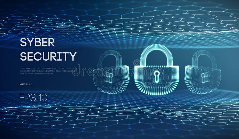 Cyber lock security vector illustration. Information protection and It security concept. Data privacy and digital safety stock illustration