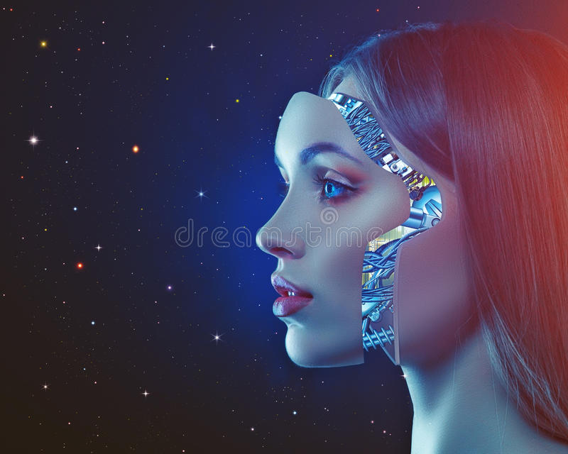 Cyber look. Science and technology backgrounds with futuristic female portrait stock photography