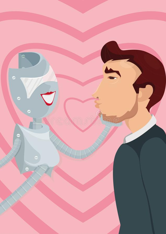 Cyber lover. A robot and a man. Illustration of how artificial intellect could replace or pretend to be your soulmate, combining characteristics, which you love royalty free illustration