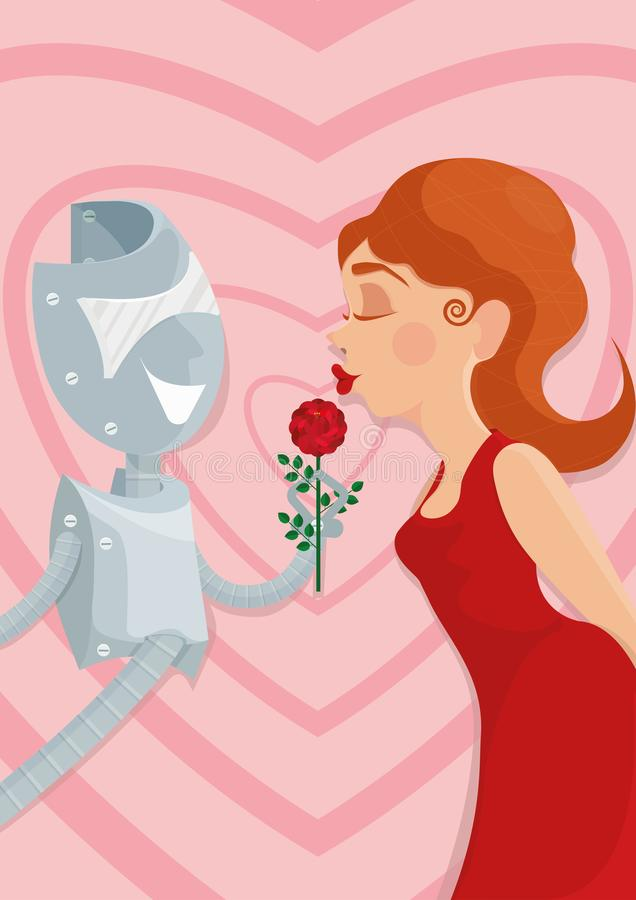 Cyber lover. A robot and a woman. Illustration of how artificial intellect could replace or pretend to be your soulmate, combining characteristics, which you royalty free illustration