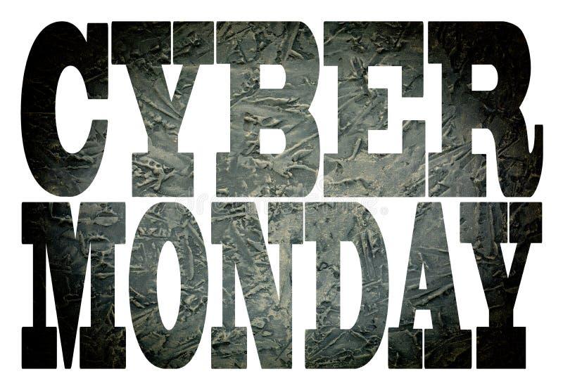 Cyber lundi police, transparent, concept d'affaires pour la remise de magasin de détail, vente, boutique, signe, blanc, images libres de droits