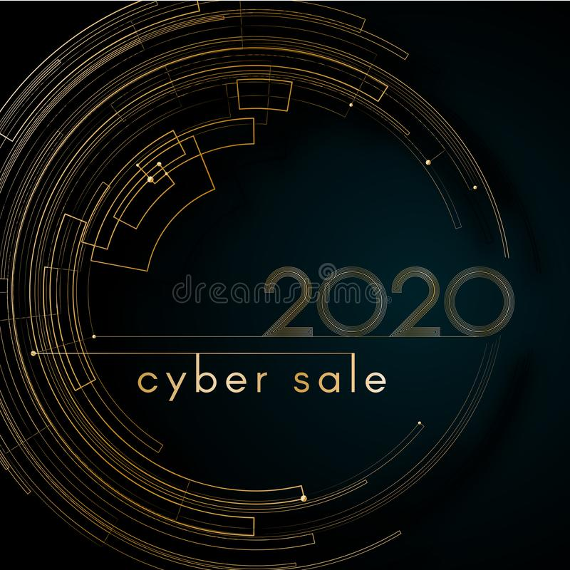 Cyber luxury sale Gold futuristic circle lines 2020 on a blue background Modern creative design element luxury elegant cards royalty free illustration