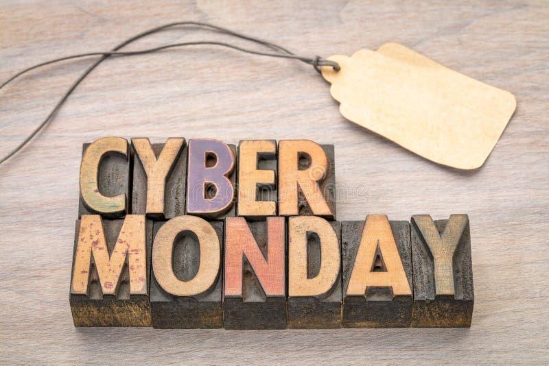 Cyber måndag i wood typ arkivfoton