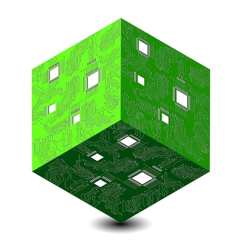 Cyber Måndag Rabattdag i online-diversehandel Abstrakt kub för techno 3D, illustration av en microcircuit stock illustrationer