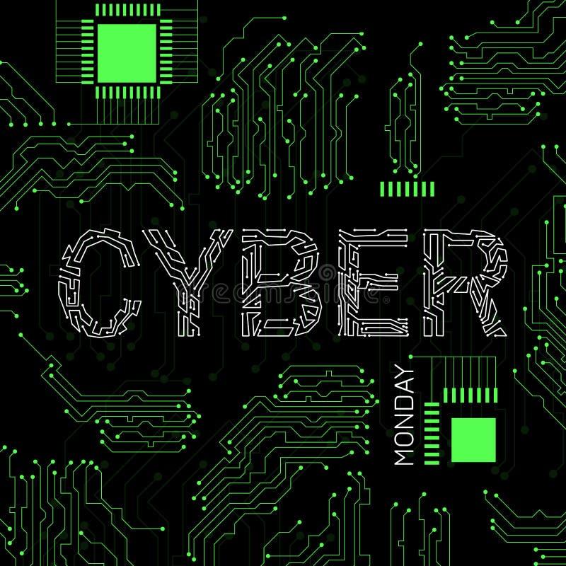 Cyber Måndag Rabattdag i online-diversehandel Abstrakt technobakgrund, händelsenamn, illustration av en microcircuit royaltyfri illustrationer