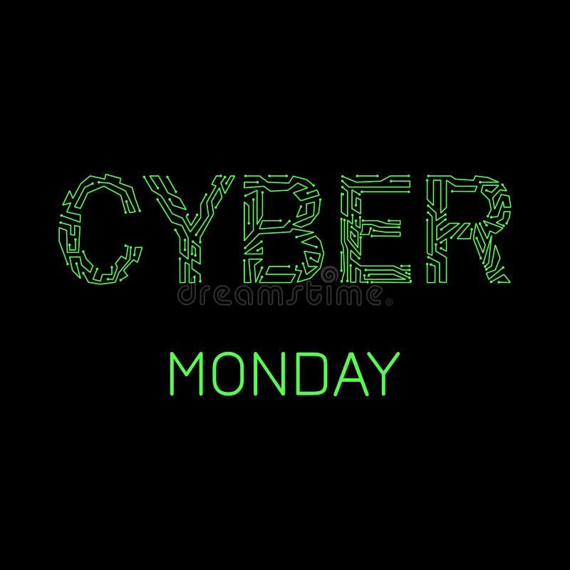 Cyber Måndag Rabattdag i online-diversehandel Händelsenamn, illustration av en microcircuit stock illustrationer