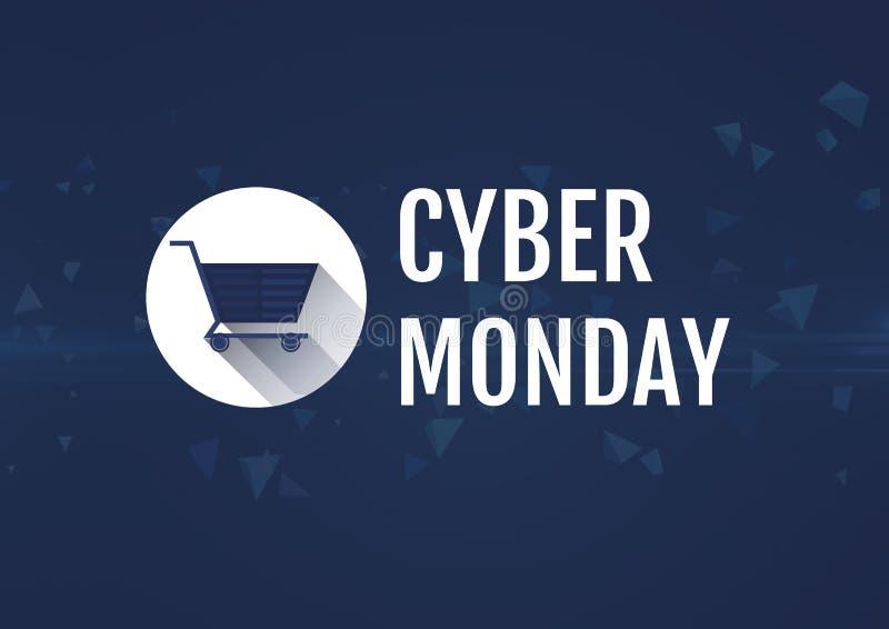 Cyber måndag Sale med shoppingsymbolen stock illustrationer