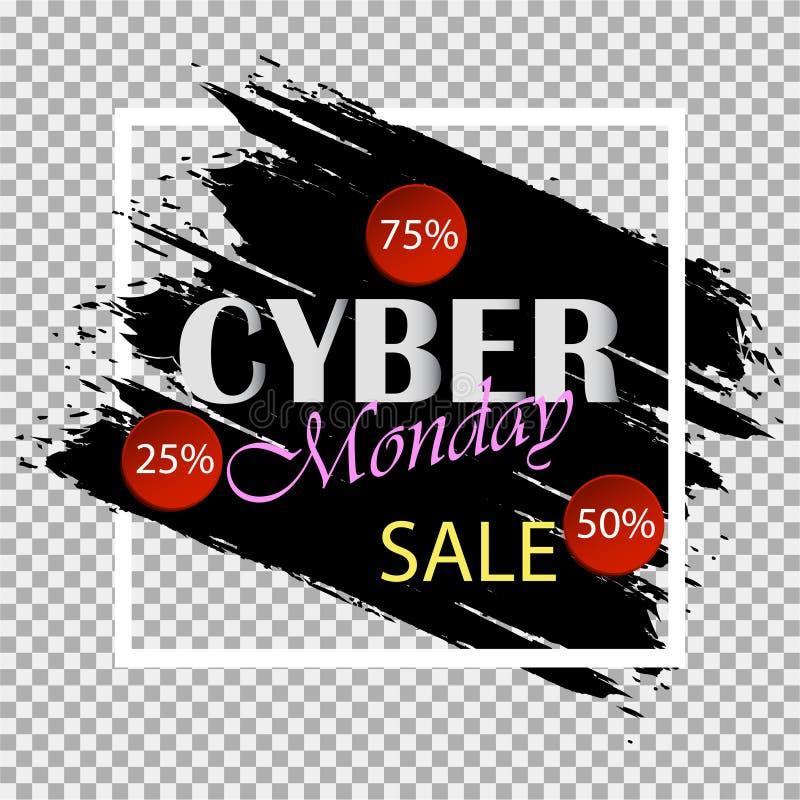 Cyber Måndag Speciala erbjudanden försäljning rabatt mall för restaurang för begreppsdesign royaltyfri illustrationer