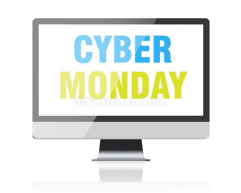 Cyber måndag - text på datorskärmen royaltyfria foton
