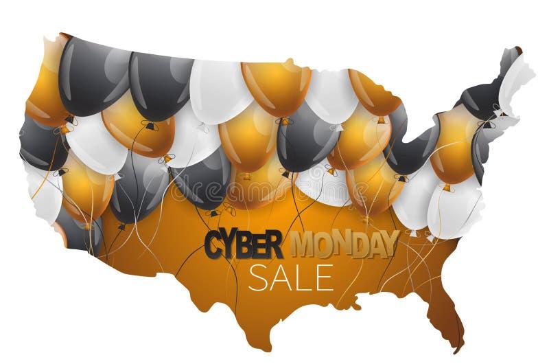 Cyber Maandag Verkoop grafiek voor reclame Het Amerikaanse vasteland met glanzende ballons en typografische tekst Amerikaanse ont royalty-vrije illustratie
